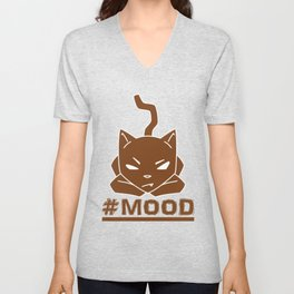 #MOOD Cat Brown Unisex V-Neck
