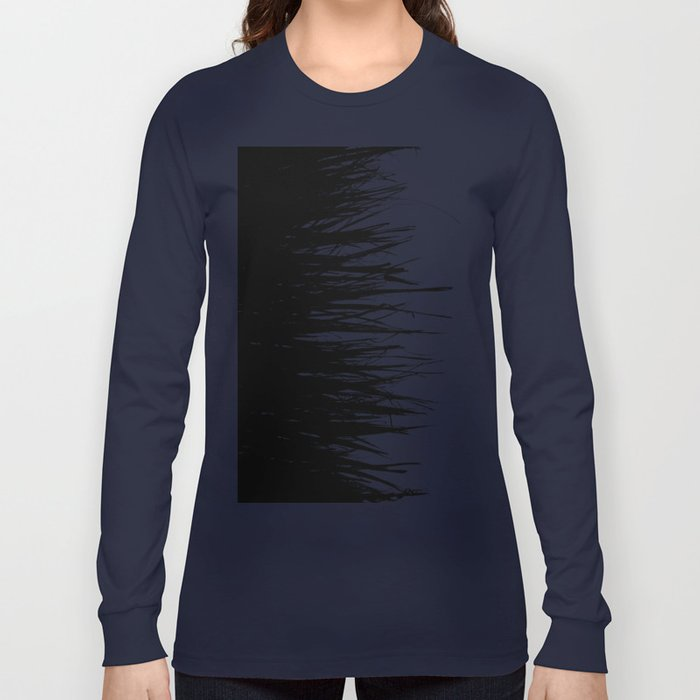Concrete Fringe Black on Side Long Sleeve T-shirt