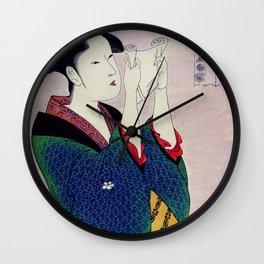 Fumiyomu Onna by Utamaro Kitagawa (1753-1806) a traditional Japanese Ukyio-e style  of a Japanese wo Wall Clock