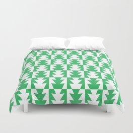Art Deco Jagged Edge Pattern Green Duvet Cover