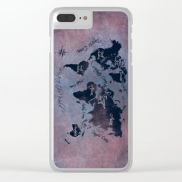 world map 141 red blue #worldmap #map Clear iPhone Case