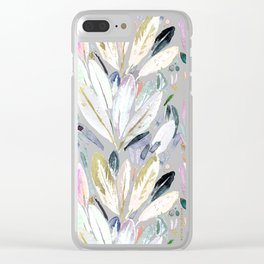 Pastel Shimmer Feather Leaves on Gray Clear iPhone Case