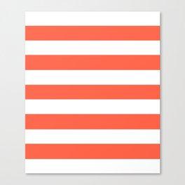 Tomato - solid color - white stripes pattern Canvas Print