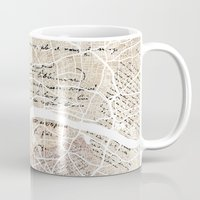 london map Mugs featuring London map by Mapsland