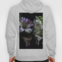 Floral bouquet. Purple and white flowers. Hoody