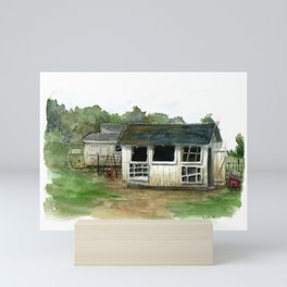 Chicken Coop Watercolor painting Mini Art Print