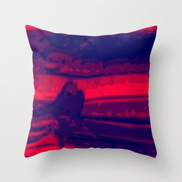 Eye of Tiger Red - Blue Abstract Vector Texture Throw Pillow