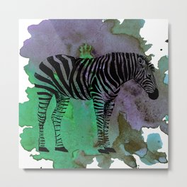 Watercolor Zebra Metal Print