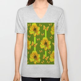 """GREEN AMARYLLIS """"FOR THE LOVE OF BUTTERFLIES"""" Unisex V-Neck"""