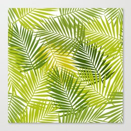 Palm leaf silhouettes seamless pattern. Tropical leaves. Canvas Print