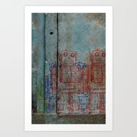 army Art Prints featuring Robot army by Ale Ibanez