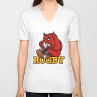 rugby V-neck T-shirts featuring RUGBY by solomnikov