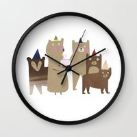 bears Wall Clocks featuring BEARS by Lydia Coventry