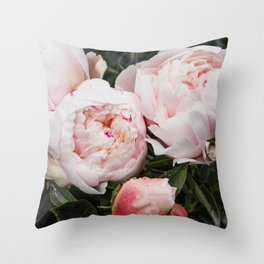 Flower Photography | Peonies Cluster | Blush Pink Floral | Peony Throw Pillow