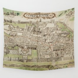 Vintage Map of Jerusalem Israel (16th Century) Wall Tapestry
