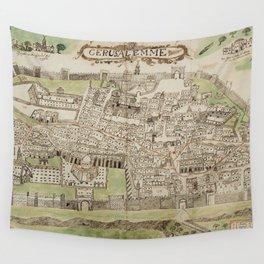 Vintage Map of Jerusalem Israel (16th Century) Wall Tapestry