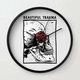 Beautiful Trauma Skull  | Skull and Rose Wall Clock