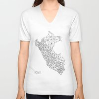 peru V-neck T-shirts featuring Mapa Peru by Romivavi