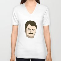 swanson V-neck T-shirts featuring Ron Swanson by irosebot