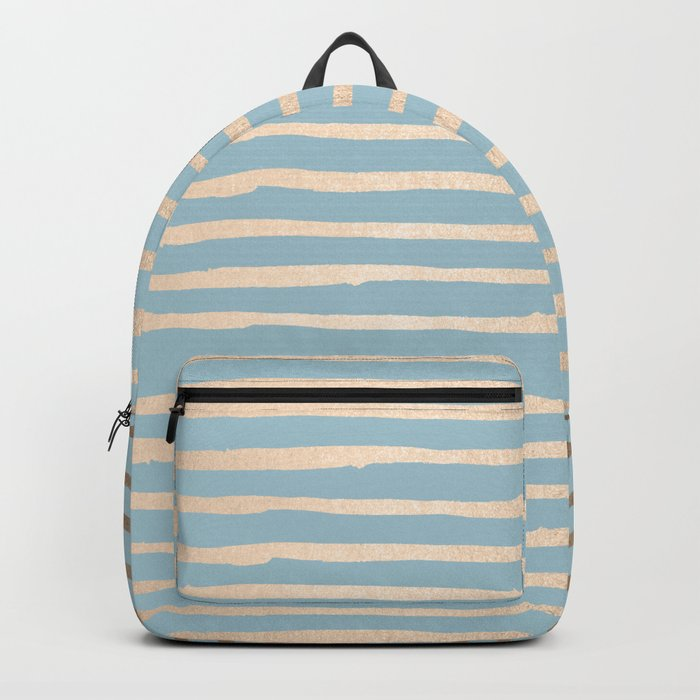 Abstract Stripes Gold Tropical Ocean Sea Blue Backpack