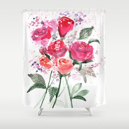 Abstract Watercolor Red Roses Shower Curtain