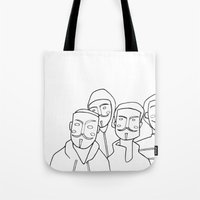 anonymous Tote Bags featuring #anonymous by Claudio Calia