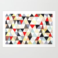Geometric Pattern Watercolor & Pencil Robayre Art Print