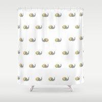 snail Shower Curtains featuring Snail by Antonina Sotnikova