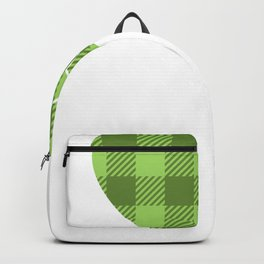 Kids St Patricks Day Buffalo Plaid Heart and Clover Backpack