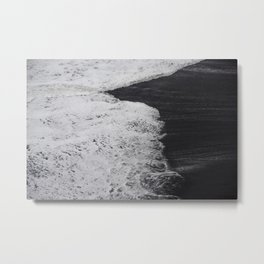 Icelandic waves dance on black sand Metal Print