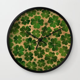 Lucky Shamrock Four-leaf Clover Pattern Watercolor Wall Clock