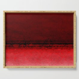 Deep Ruby Red Ombre with Geometrical Patterns Serving Tray