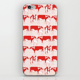 Pattern with retro red cows, retro pattern and colours iPhone Skin