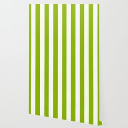 Apple green - solid color - white vertical lines pattern Wallpaper