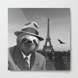 Sloth in Paris Metal Print