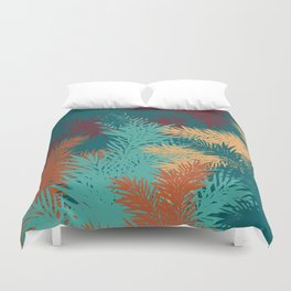 Modern winter christmas blue red green gold pines branches pattern Duvet Cover