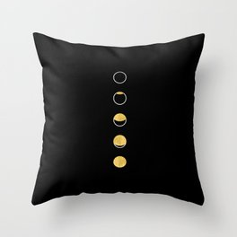 Moon Phase Wall Tapestry, Lunar Cycle, Black and Gold, Black and White, Gold Circles, Geometric Throw Pillow