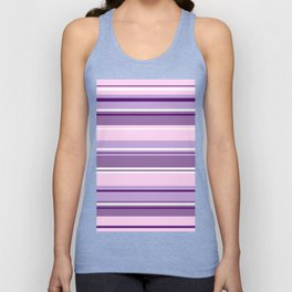 Mixed Striped Design Pinks Purples White Unisex Tank Top