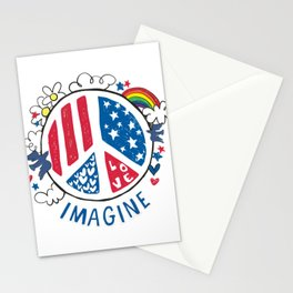 Imagine Peace And Love Stationery Cards