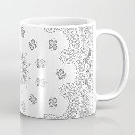 Bandana - White & Grays - Southwestern - Paisley Coffee Mug