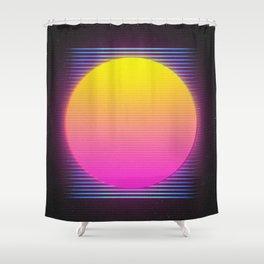 Retro 80's Neon Sunrise Shower Curtain