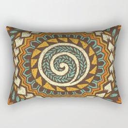 Retro Abstract 60s 70s Polynesian Tattoo Design - Vintage Blue Rectangular Pillow