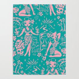 Tiki Temptress in Pink and Turquoise Poster