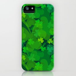 lucky Shamrock - Clovers All Over iPhone Case