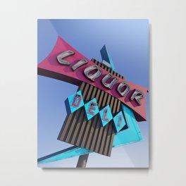 Liquor Deli Vintage Retro Neon Sign Metal Print