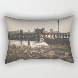 Wooden scaffold with boat at sundown near the port of Antwerp, Belgium / fine art landscape print Rectangular Pillow