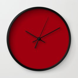 Solid Dark Cranberry Red Color Wall Clock