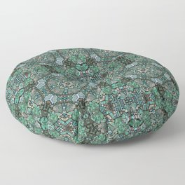 Turquoise and malachite, antique mosaic Floor Pillow
