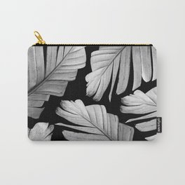 Tropical Gray White Banana Leaves Dream #1 #decor #art #society6 Carry-All Pouch