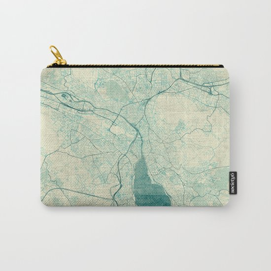 Zurich Map Blue Vintage Carry-All Pouch